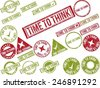 "Collection of 22 red grunge rubber stamps with text ""TIME TO THINK"" . Vector illustration - stock photo"