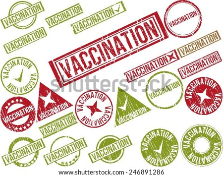 """Collection of 22 red grunge rubber stamps with text """"VACCINATION"""" . Vector illustration - stock vector"""