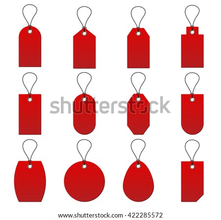 Collection of red price tags on white background