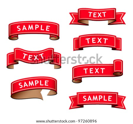 collection of red retro ribbons on a white background