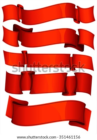 Collection of 5 red ribbon. Vector illustration  - stock vector