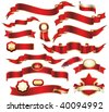 collection of red ribbons - stock photo
