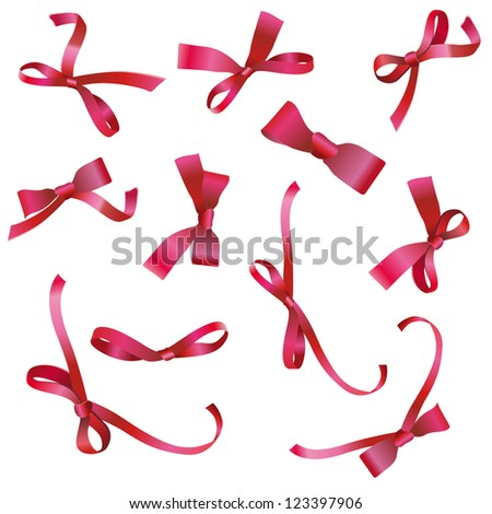 collection of red ribbons. Vector design.