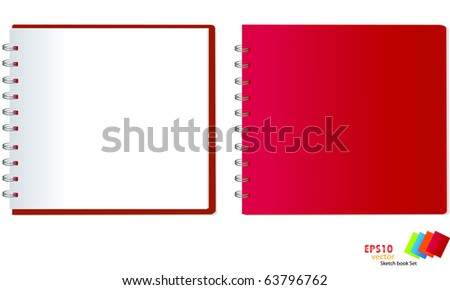 collection of red sketch book . Vector illustration. - stock vector