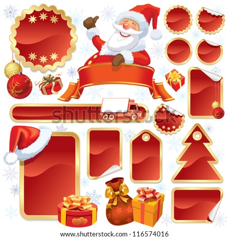 Collection of red stickers and Christmas design elements - stock vector