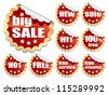 Collection of red stickers on white background - stock vector