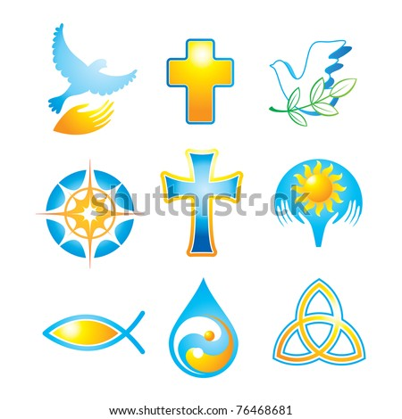Collection of religious icons, symbols - stock vector