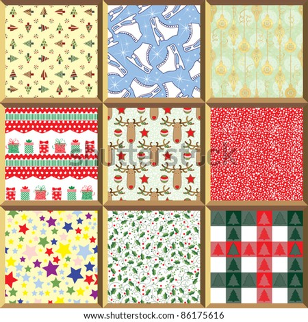 Collection of Repeating Christmas Backgrounds - stock vector