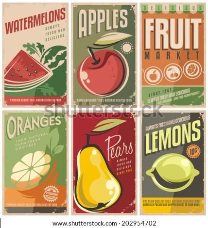 Collection of retro fruit poster designs. Vintage vector fruit signs set with promotional messages. - stock vector