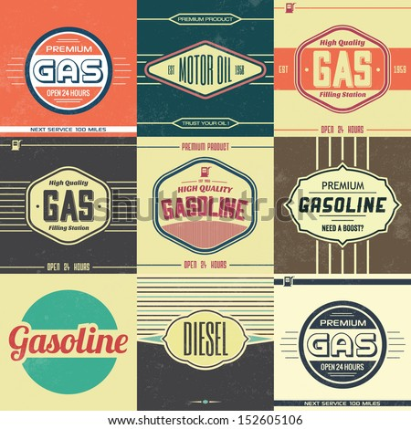 Collection of Retro Gasoline Signs / Motor Oil / Vintage Background - stock vector