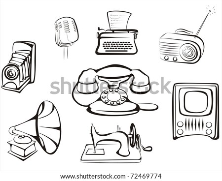 collection of retro home related objects in simple black lines - stock vector