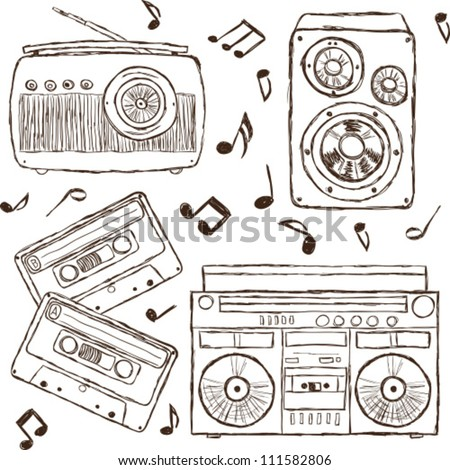 Collection of retro music elements, sketch style