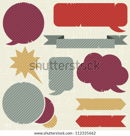 Collection of retro speech bubbles and dialog balloons - stock vector