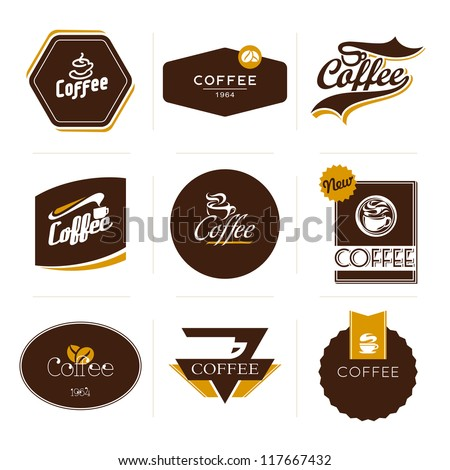 Collection of retro styled coffee labels, frames and badges. Vintage ribbons, borders and other elements for coffee design. Vector illustration. - stock vector