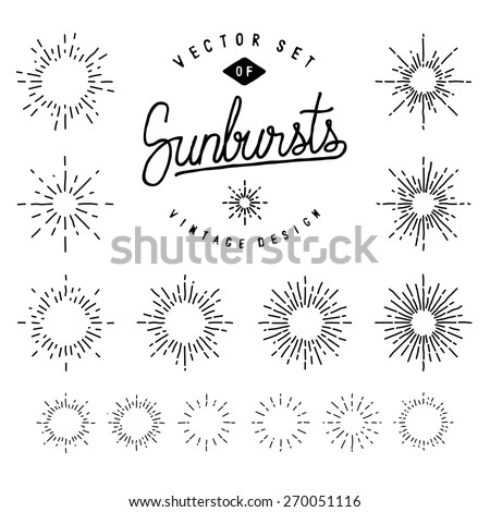 Collection Of Retro Sunburst Shapes For Your Design. Set Of Vintage Light Rays. Hand-Drawn Vector Design Elements. - stock vector