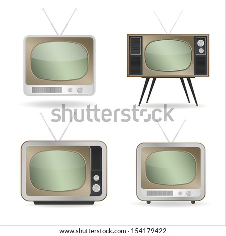 Collection of retro television with empty screen on white background - Vector illustration - stock vector