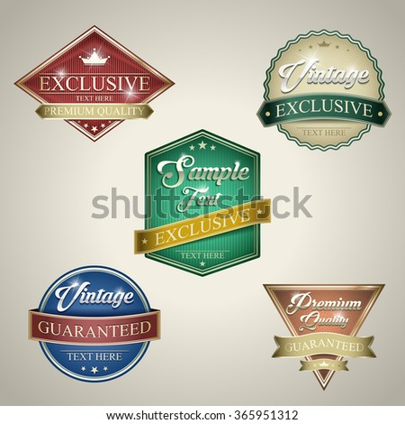 Collection of retro vintage stickers colorful design labels - stock vector