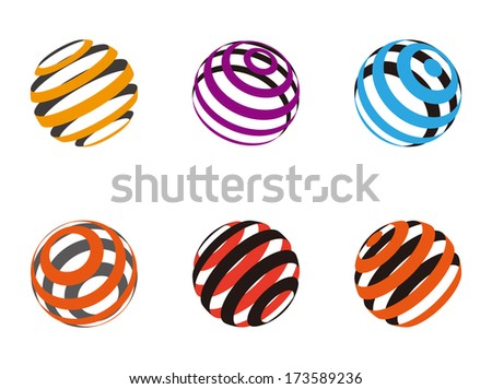Collection of ribbon ball vector logo template. Abstract globe symbol, isolated round icon,  colorful business concept .You can use science and technology, tourism or environmental background.  - stock vector