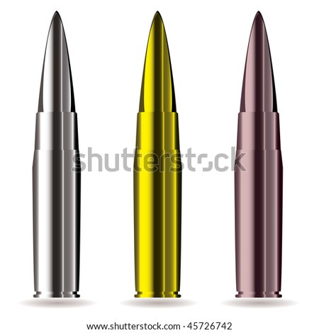 Collection of rifle bullets with drop shadow and light reflection