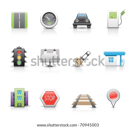 Collection of road icons. - stock vector
