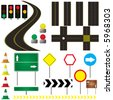 collection of road markings and sign that can be used in your own design - stock photo