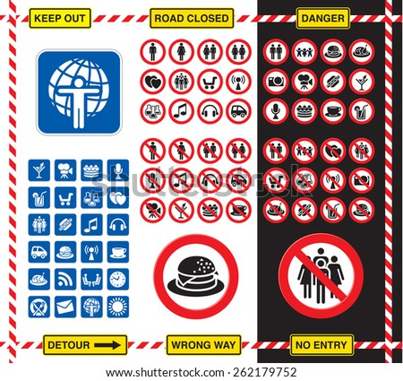 Collection of road signs and icons over white and black background - stock vector