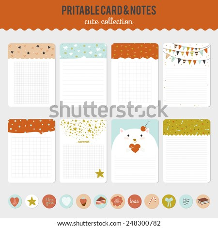 Collection of romantic and love cards, notes, stickers, labels, tags with cute ornament illustrations. Template for scrapbooking, wrapping, notebooks, notebook, diary, decals, school accessories - stock vector