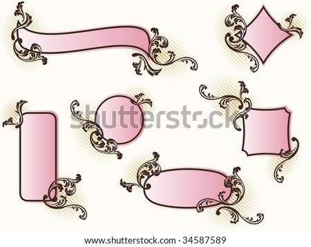 Collection of romantic French retro banners (vector); a JPG version is also available - stock vector