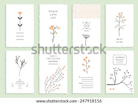 Collection of 8 romantic invitations. Wedding, marriage, bridal, birthday, Valentine's day. Isolated. Vector - stock vector