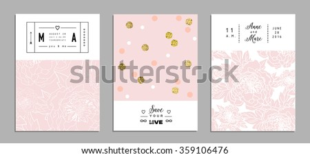 Collection of romantic invitations with gold glitter texture. Wedding, marriage, bridal, birthday, Valentine's day. Isolated. Vector - stock vector