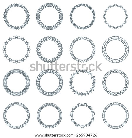 Collection of 16 Round Decorative Frames and Labels with Lines, Curves, Geometric Shapes and Natural Elements - stock vector