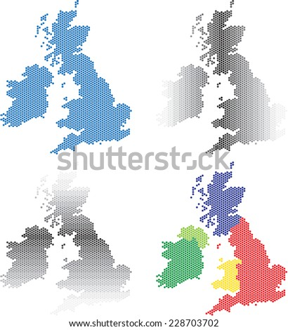Collection of round hexagon maps of United Kingdom and Ireland. Vector illustration. - stock vector