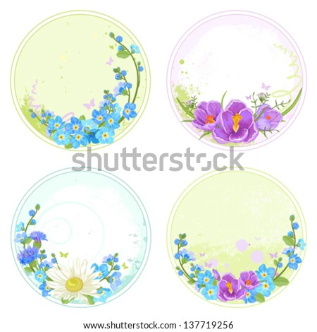 Collection of round labels with crocuses, forget me not and chamomiles. - stock vector
