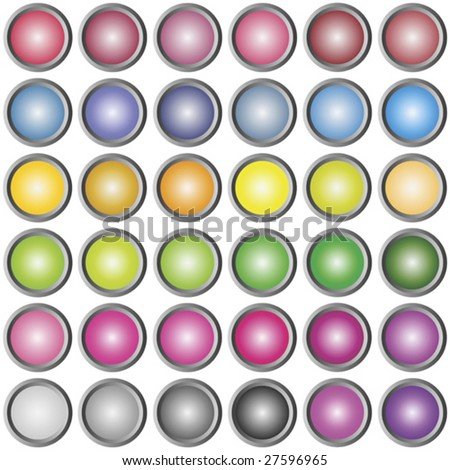 collection of round metallic colored buttons