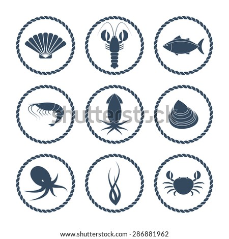 Collection of round seafood icons in flat style - stock vector