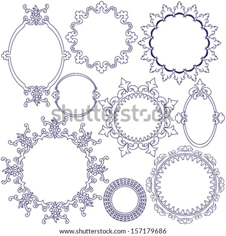 Collection of rounded decorative frames - stock vector