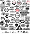 Collection of rubber stamps. See other rubber stamp collections in my portfolio. - stock photo