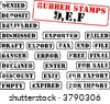 Collection of rubber stamps with words beginning with letter D, E, F. See other rubber stamp collections in my portfolio. - stock vector