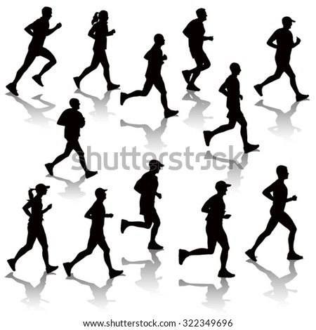 Collection of running people isolated on white. Vector illustration - stock vector