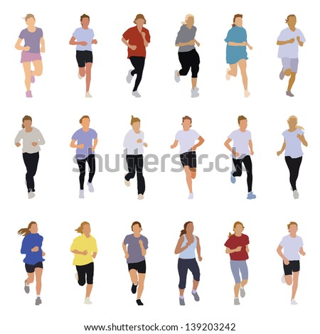 Collection of running silhouettes, teenagers, boys and girls. - stock vector