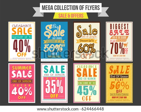 Collection Sale Discount Offer Flyers Templates Stock Vector