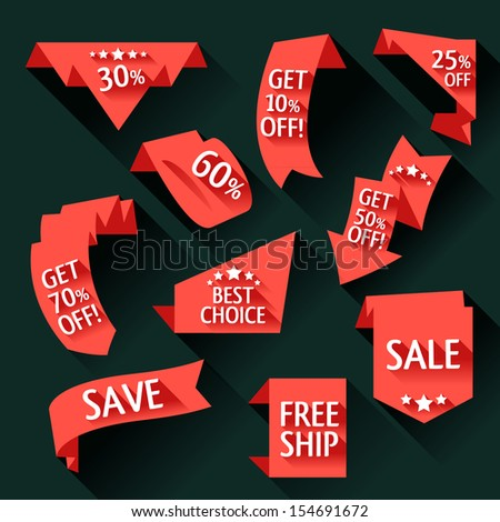 Collection of sale discount origami styled website ribbons, corners, labels, curls and tabs. Shadows are transparent!! 10 EPS - stock vector