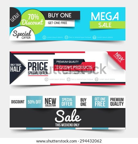 Collection of Sale Discount Styled Banners. Creative website header place holder. Vector - stock vector