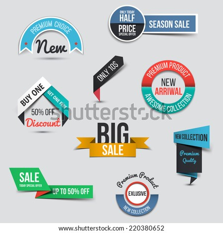 Collection of Sale Discount Styled origami Banners. Vector - stock vector