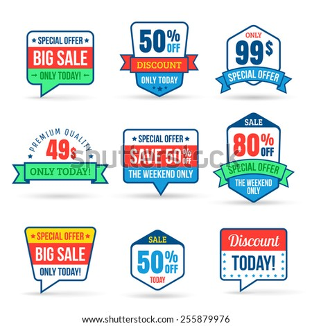 Collection of Sale Discount. Use for labels, stickers, labels and icons. Vector illustration in flat design - stock vector