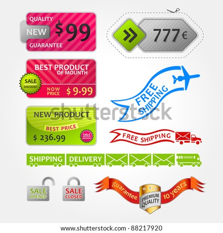 collection of sale elements shipping cards stickers in white - stock vector