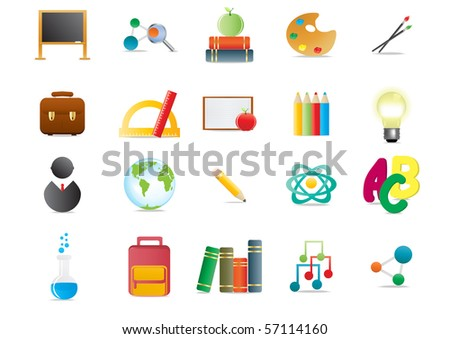 Collection of scholastic icons, vector illustration - stock vector