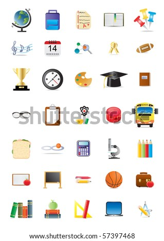 Collection of school and education icons - stock vector