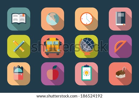 Collection of school items icons, flat design, long shadow, vector illustration