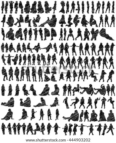 Collection of Scribbled Female Silhouettes on White Background
